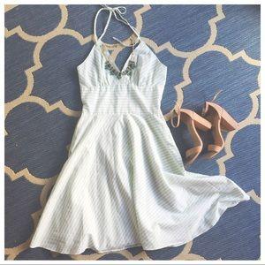 Green & White Striped Dress